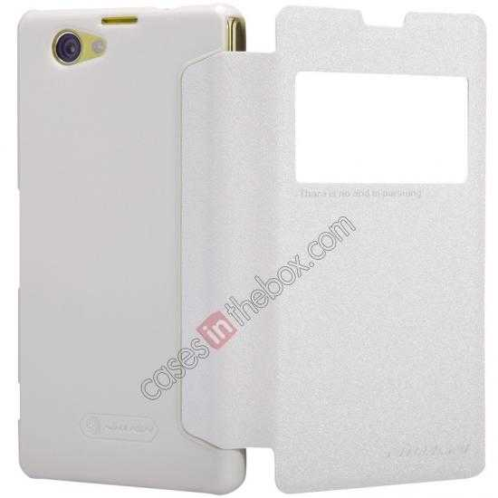top quality Nillkin Sparkle Series View Window Flip Leather Case for Sony Xperia Z1 Compact M51W - White