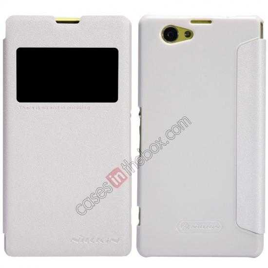 wholesale Nillkin Sparkle Series View Window Flip Leather Case for Sony Xperia Z1 Compact M51W - White