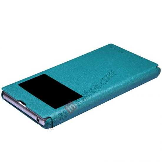 top quality Nillkin Sparkle Series View Window Flip Leather Case for Sony Xperia Z1 L39h - Blue