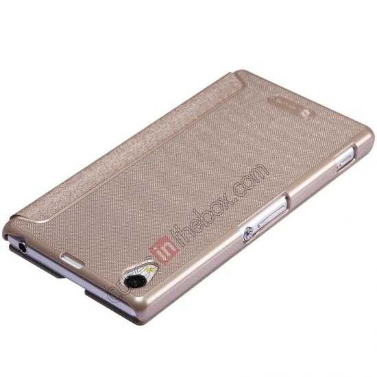 top quality Nillkin Sparkle Series View Window Flip Leather Case for Sony Xperia Z1 L39h - Champaign Gold
