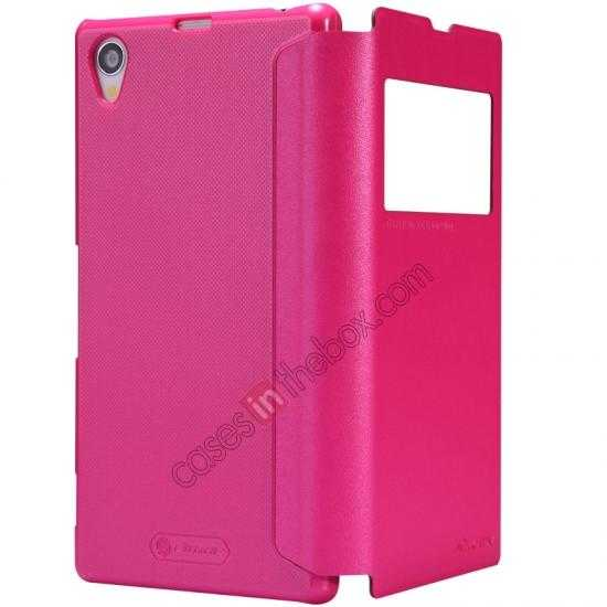 cheap Nillkin Sparkle Series View Window Flip Leather Case for Sony Xperia Z1 L39h - Rose