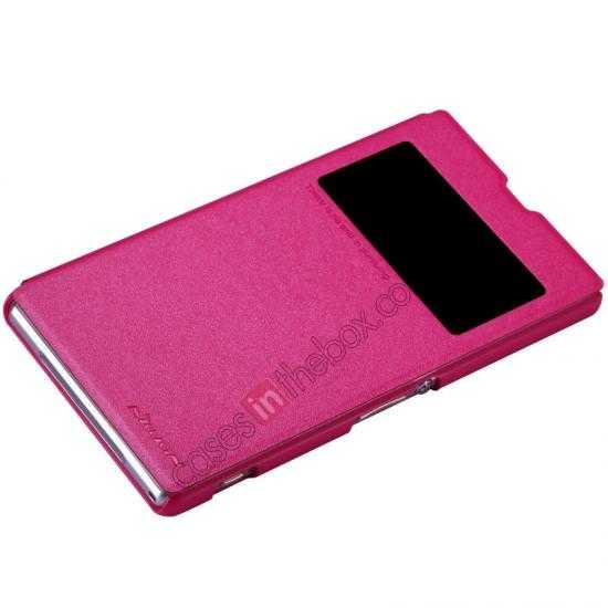 top quality Nillkin Sparkle Series View Window Flip Leather Case for Sony Xperia Z1 L39h - Rose