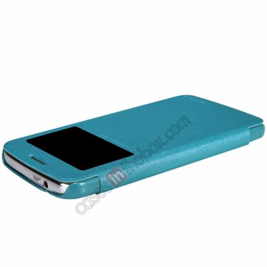 best price Nillkin Sparkle Series Window View Flip Leather Case for Samsung Galaxy Grand 2/G7106 - Blue