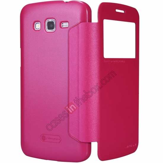 top quality Nillkin Sparkle Series Window View Flip Leather Case for Samsung Galaxy Grand 2/G7106 - Rose
