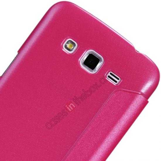 best price Nillkin Sparkle Series Window View Flip Leather Case for Samsung Galaxy Grand 2/G7106 - Rose