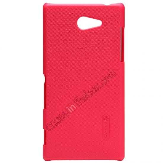 wholesale Nillkin Super Frosted Shield Hard Case w/ Screen Film for Sony Xperia M2 S50H - Red