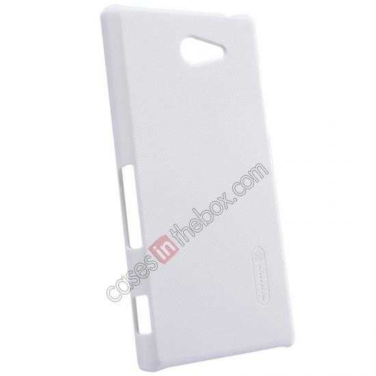 top quality Nillkin Super Frosted Shield Hard Case w/ Screen Film for Sony Xperia M2 S50H - White