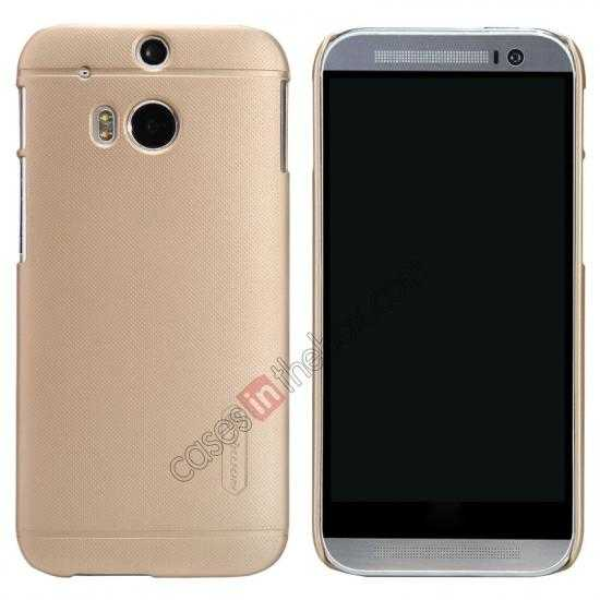 wholesale Nillkin Super Frosted Shield Plastic Cover Case for HTC One 2 M8 - Golden