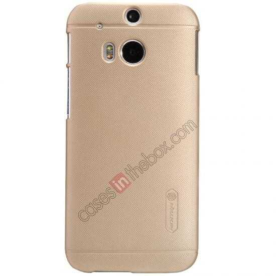 cheap Nillkin Super Frosted Shield Plastic Cover Case for HTC One 2 M8 - Golden