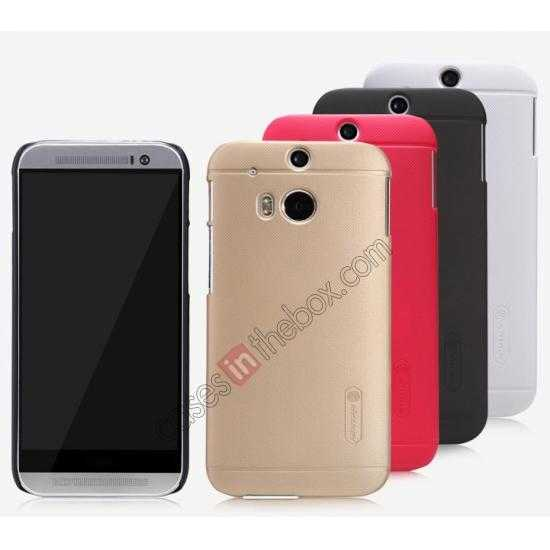 low price Nillkin Super Frosted Shield Plastic Cover Case for HTC One 2 M8 - Golden
