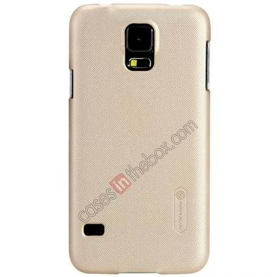 top quality Nillkin Super Frosted Shield Plastic Cover Case for Samsung Galaxy S5 G900 - Golden