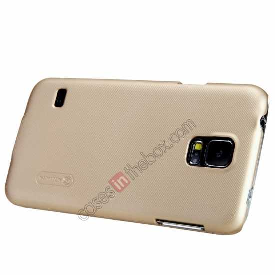 on sale Nillkin Super Frosted Shield Plastic Cover Case for Samsung Galaxy S5 G900 - Golden