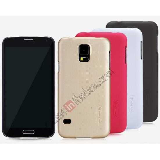 low price Nillkin Super Frosted Shield Plastic Cover Case for Samsung Galaxy S5 G900 - Golden