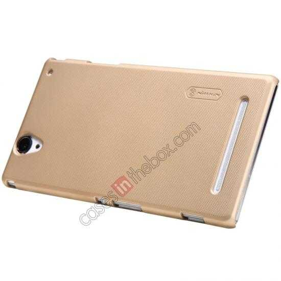 top quality Nillkin Super Frosted Shield Plastic Cover Case for Sony Xperia T2 Ultra XM50h - Golden