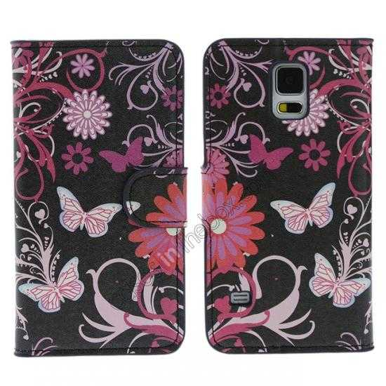 wholesale Pink Butterfly Pattern Wallet Style Stand Leather Case For Samsung Galaxy S5