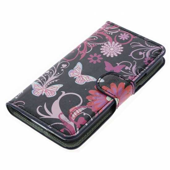top quality Pink Butterfly Pattern Wallet Style Stand Leather Case For Samsung Galaxy S5