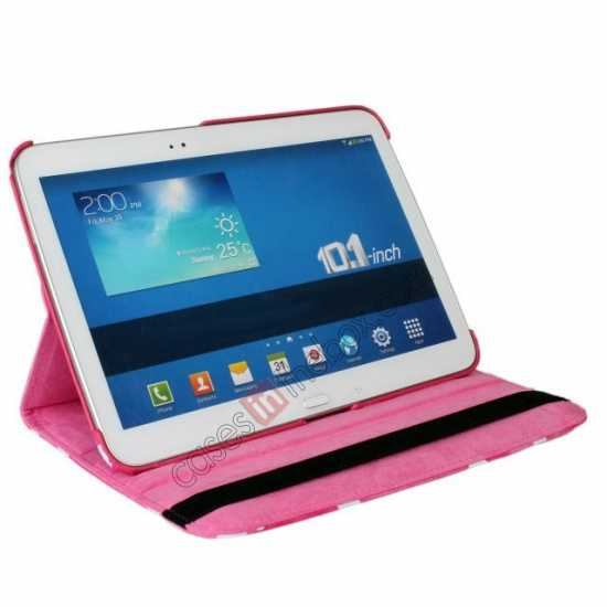 top quality Pink Camo 360 Degree Rotating Leather Case Cover for Samsung Galaxy Tab 3 10.1 P5200