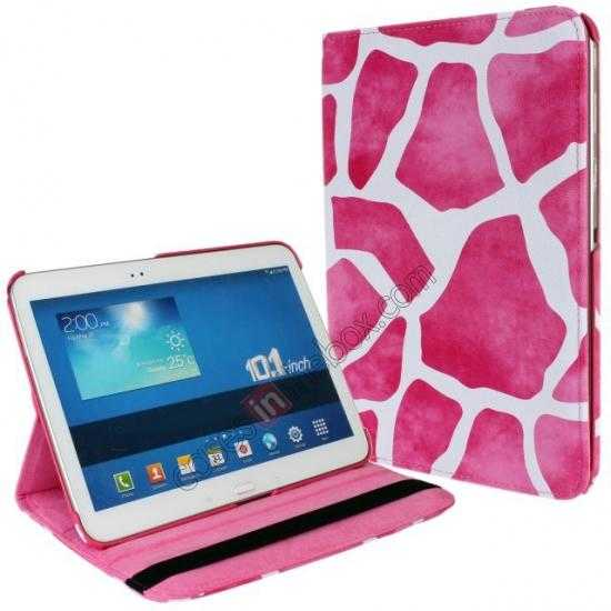 discount Pink Camo 360 Degree Rotating Leather Case Cover for Samsung Galaxy Tab 3 10.1 P5200