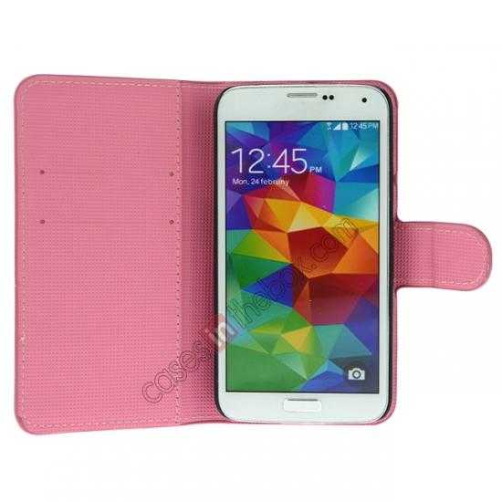 discount Pink Peach Blossom Pattern Wallet Style Stand Leather Case For Samsung Galaxy S5