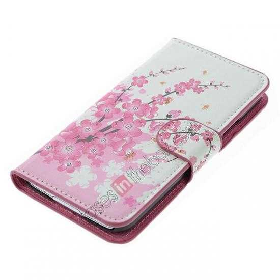 top quality Pink Peach Blossom Pattern Wallet Style Stand Leather Case For Samsung Galaxy S5