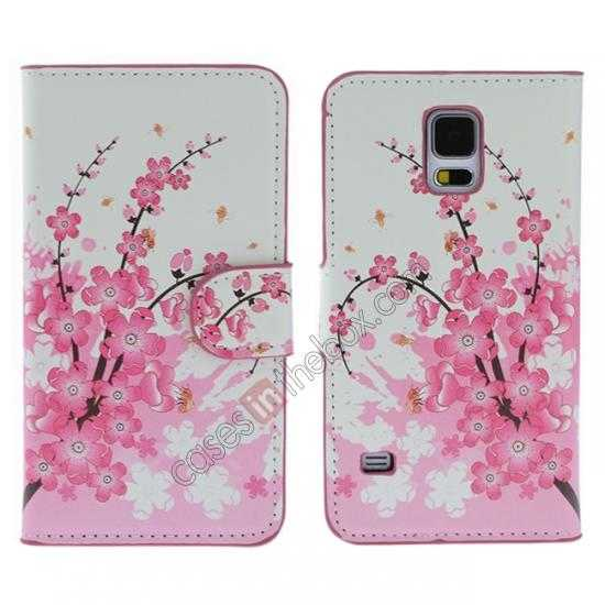 wholesale Pink Peach Blossom Pattern Wallet Style Stand Leather Case For Samsung Galaxy S5