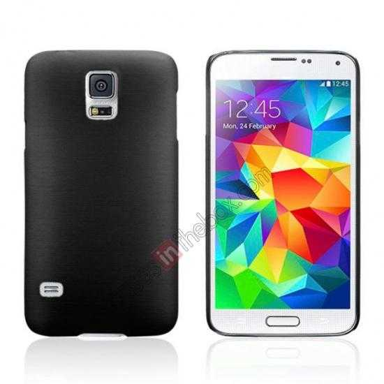 wholesale Plastic PC Wire Drawing Back Cover Case For Samsung Galaxy S5 - Black