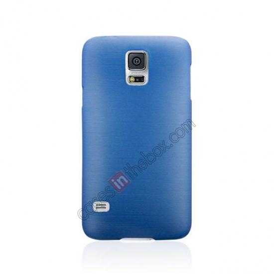discount Plastic PC Wire Drawing Back Cover Case For Samsung Galaxy S5 - Blue