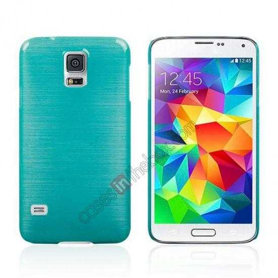 wholesale Plastic PC Wire Drawing Back Cover Case For Samsung Galaxy S5 - Blue