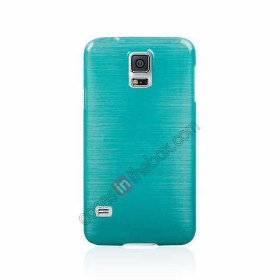 cheap Plastic PC Wire Drawing Back Cover Case For Samsung Galaxy S5 - Blue