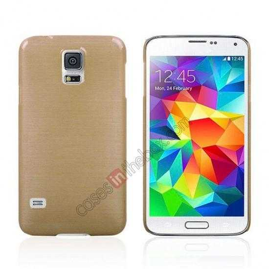 wholesale Plastic PC Wire Drawing Back Cover Case For Samsung Galaxy S5 - Golden