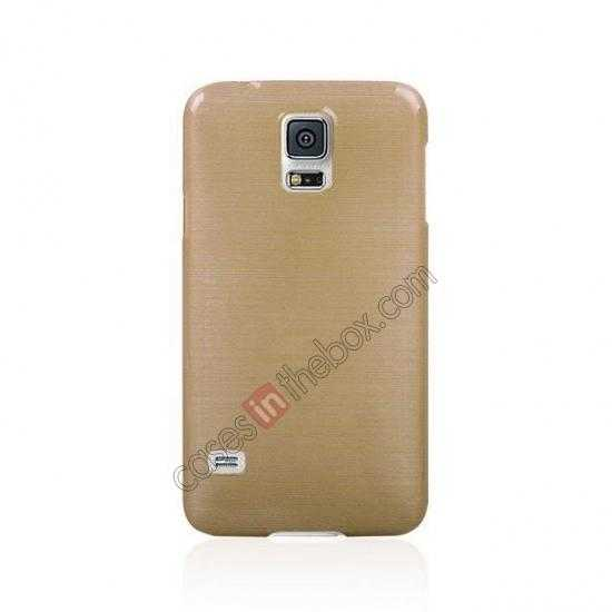 cheap Plastic PC Wire Drawing Back Cover Case For Samsung Galaxy S5 - Golden