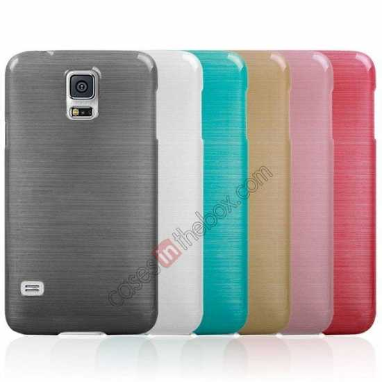 best price Plastic PC Wire Drawing Back Cover Case For Samsung Galaxy S5 - Golden