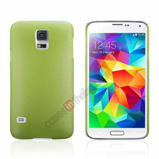 wholesale Plastic PC Wire Drawing Back Cover Case For Samsung Galaxy S5 - Green