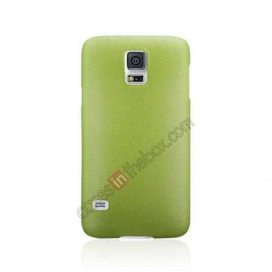 cheap Plastic PC Wire Drawing Back Cover Case For Samsung Galaxy S5 - Green
