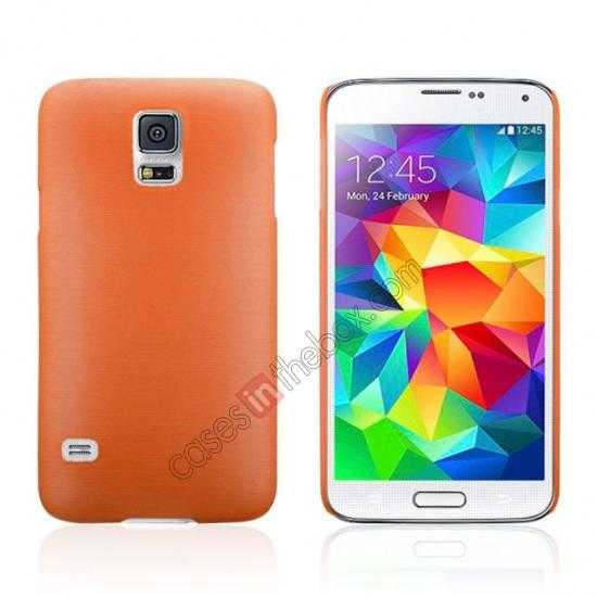 wholesale Plastic PC Wire Drawing Back Cover Case For Samsung Galaxy S5 - Orange