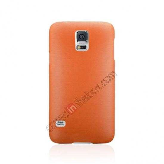 cheap Plastic PC Wire Drawing Back Cover Case For Samsung Galaxy S5 - Orange