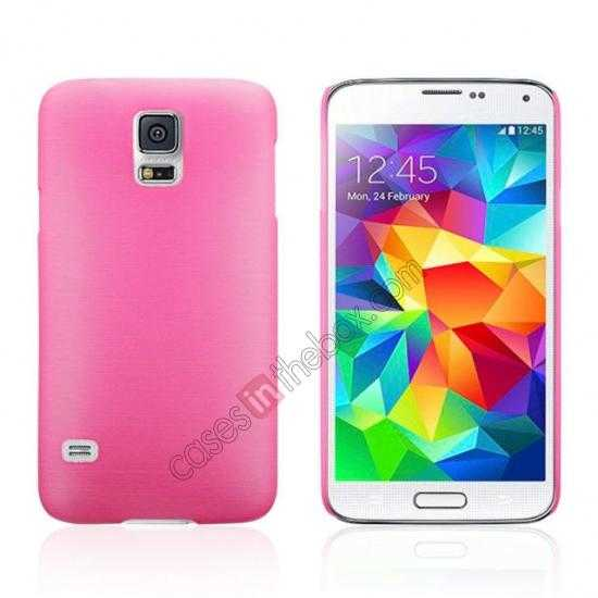 wholesale Plastic PC Wire Drawing Back Cover Case For Samsung Galaxy S5 - Pink