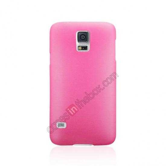 cheap Plastic PC Wire Drawing Back Cover Case For Samsung Galaxy S5 - Pink