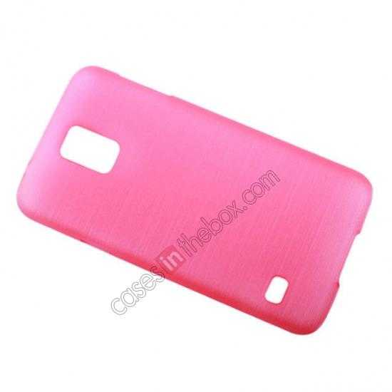 on sale Plastic PC Wire Drawing Back Cover Case For Samsung Galaxy S5 - Pink
