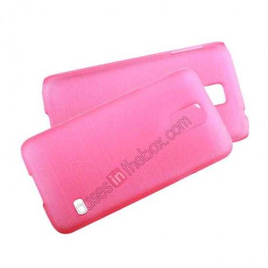 high quanlity Plastic PC Wire Drawing Back Cover Case For Samsung Galaxy S5 - Pink