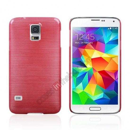 wholesale Plastic PC Wire Drawing Back Cover Case For Samsung Galaxy S5 - Red