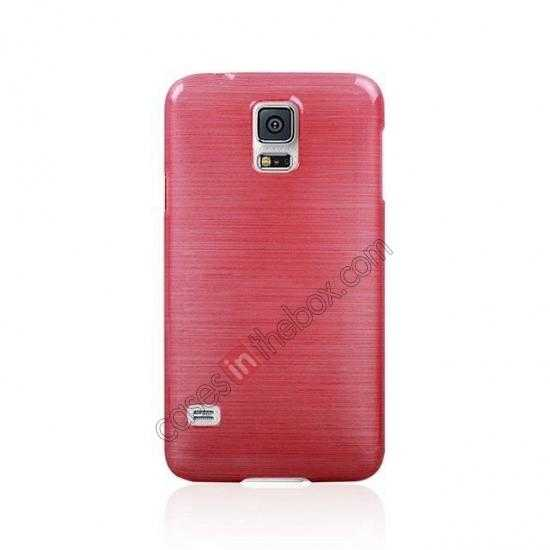 cheap Plastic PC Wire Drawing Back Cover Case For Samsung Galaxy S5 - Red