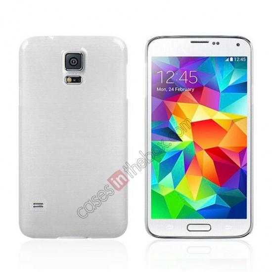 wholesale Plastic PC Wire Drawing Back Cover Case For Samsung Galaxy S5 - White