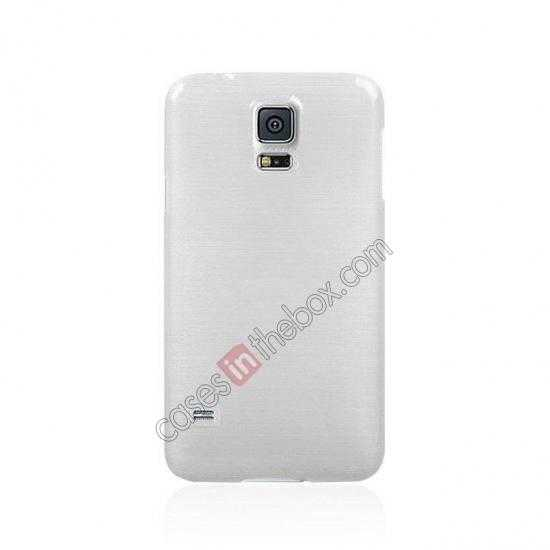 discount Plastic PC Wire Drawing Back Cover Case For Samsung Galaxy S5 - White