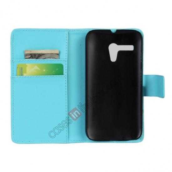 discount PU Leather Wallet Flip Case Cover For Motorola Moto G - Blue