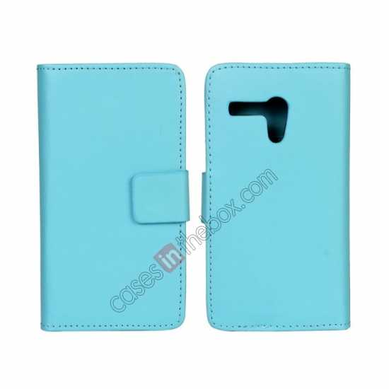 wholesale PU Leather Wallet Flip Case Cover For Motorola Moto G - Blue