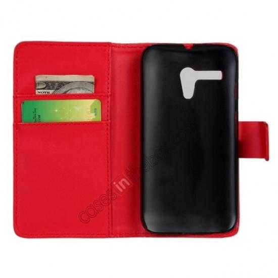 discount PU Leather Wallet Flip Case Cover For Motorola Moto G - Red