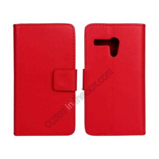 wholesale PU Leather Wallet Flip Case Cover For Motorola Moto G - Red