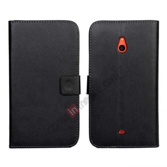 wholesale PU Leather Wallet Flip Case Cover For Nokia Lumia 1320 - Black