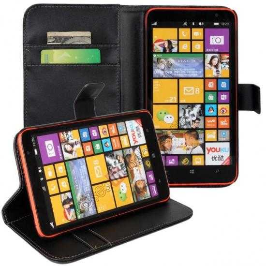 discount PU Leather Wallet Flip Case Cover For Nokia Lumia 1320 - Black